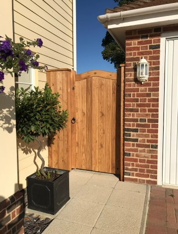Softwood brown treated with Deluxe infill panel to the left of gate
